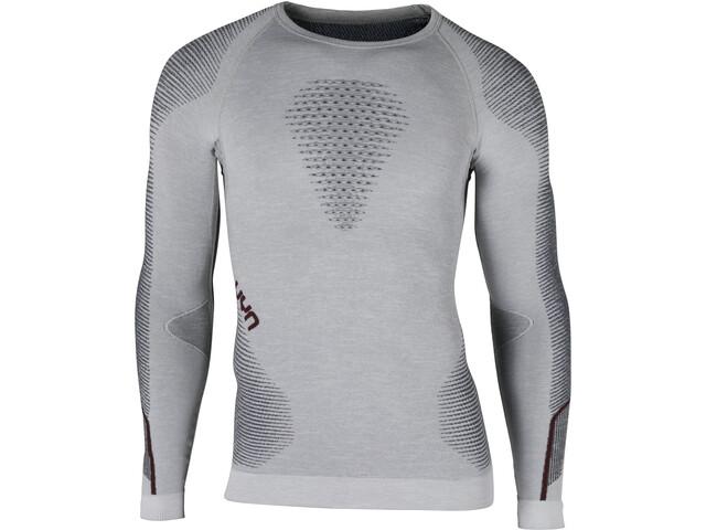 UYN Ambityon Melange UW T-shirt à manches longues Homme, white melange/avio/bordeaux